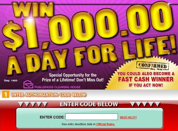 www.Pch.com/Instant is where Publishers Clearing House consumers can
